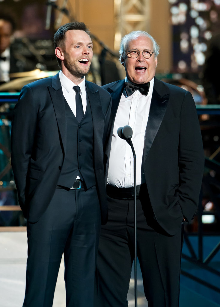 Joel McHale and Chevy Chase shared the stage at the Comedy Awards in NYC.