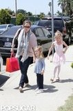 Jennifer Garner held hands with Seraphina Affleck as they picked Violet Affleck up from ballet class in LA.