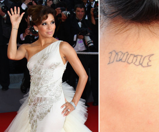 Eva Longoria celebrated her marriage to Tony Parker by getting his basketball jersey number, nine, tattooed on the back of her neck in 2008.