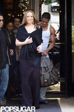 Mariah Carey left her hotel in Paris with husband Nick Cannon following closely behind.
