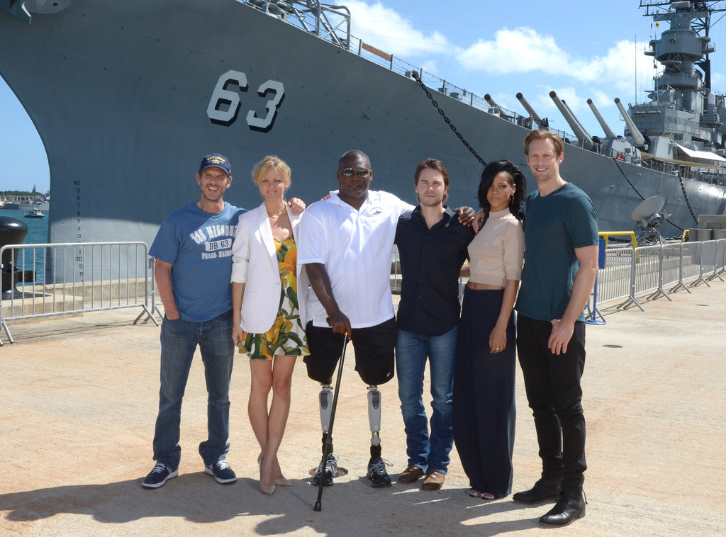 The cast met up with a naval vet at the memorial site.