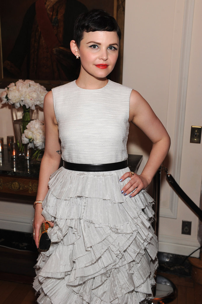 Ginnifer Goodwin paired a red lip with her white dress.