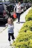 Jennifer Garner with Seraphina Affleck ran to pick up Violet Affleck from a ballet class in LA.