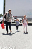 Jennifer Garner led Seraphina Affleck and Violet Affleck to the car after a ballet class in LA.