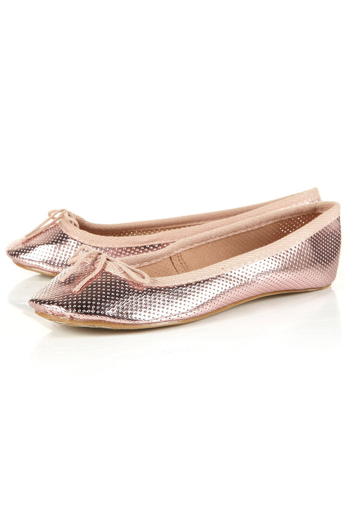 These sweet ballerina flats would look especially great with printed pants.  Topshop Vibrant Perforated Ballet Flats ($36)