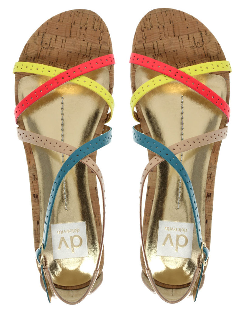 We love these candy-colored strappy sandals — wear them with a pair of white skinny jeans for a day of errands.  DV by Dolce Vita Dora Neon Flat Sandals ($91)