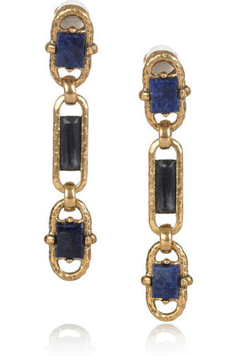 Oscar de la Renta | 24-karat gold-plated semi-precious stone clip earrings | NET-A-PORTER.COM
