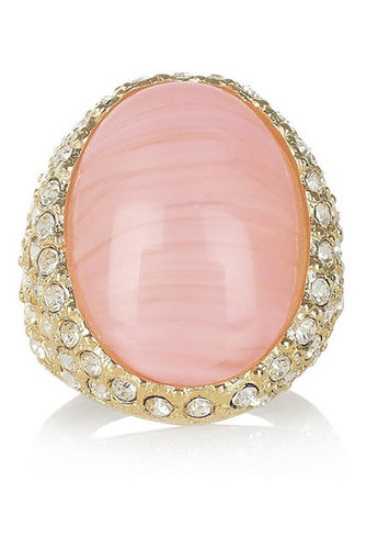 Kenneth Jay Lane | 22-karat gold-plated crystal ring | NET-A-PORTER.COM