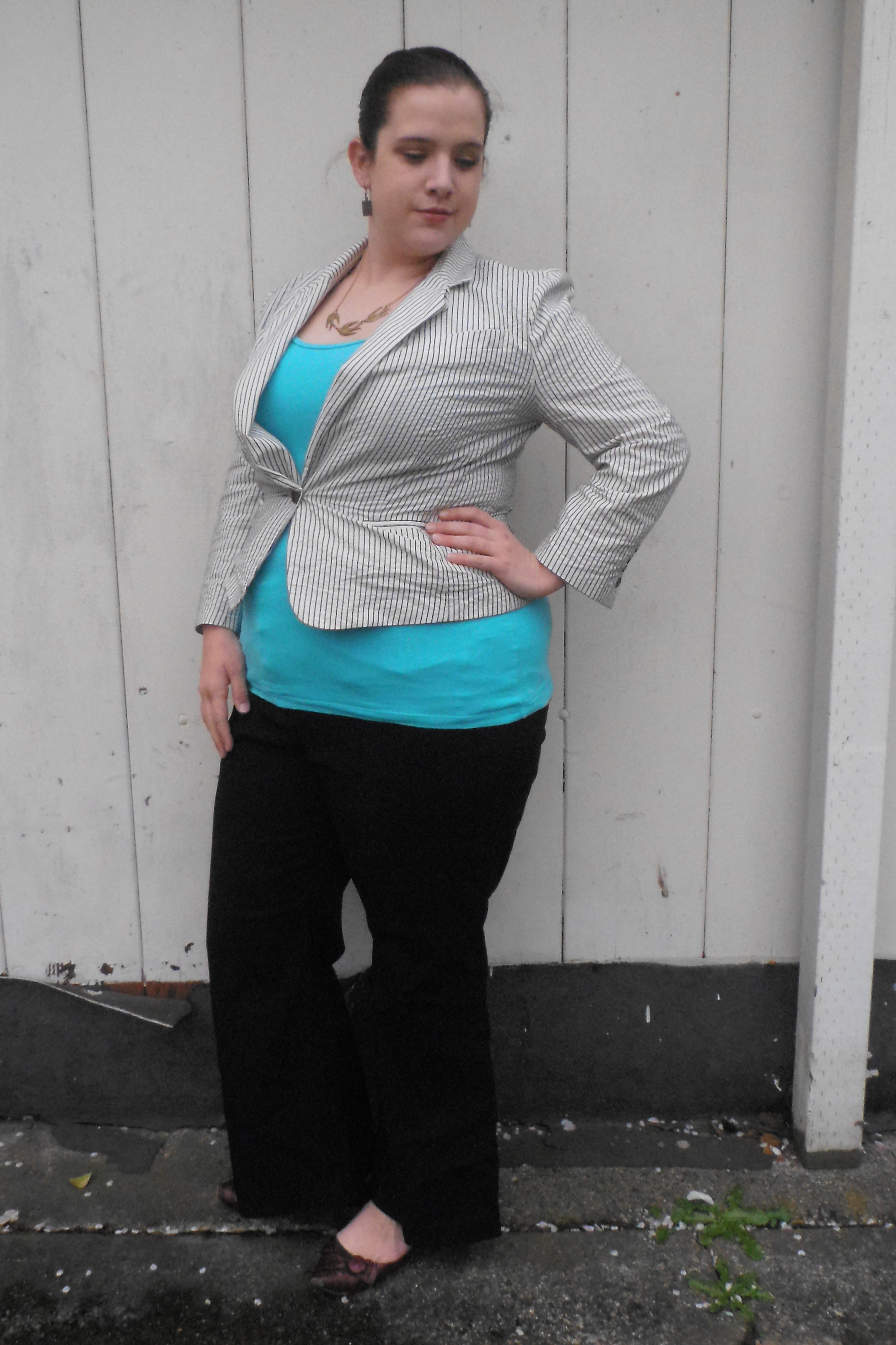 top, Energie at Fred Meyer ; pants, Lane Bryant ; shoes, Classified