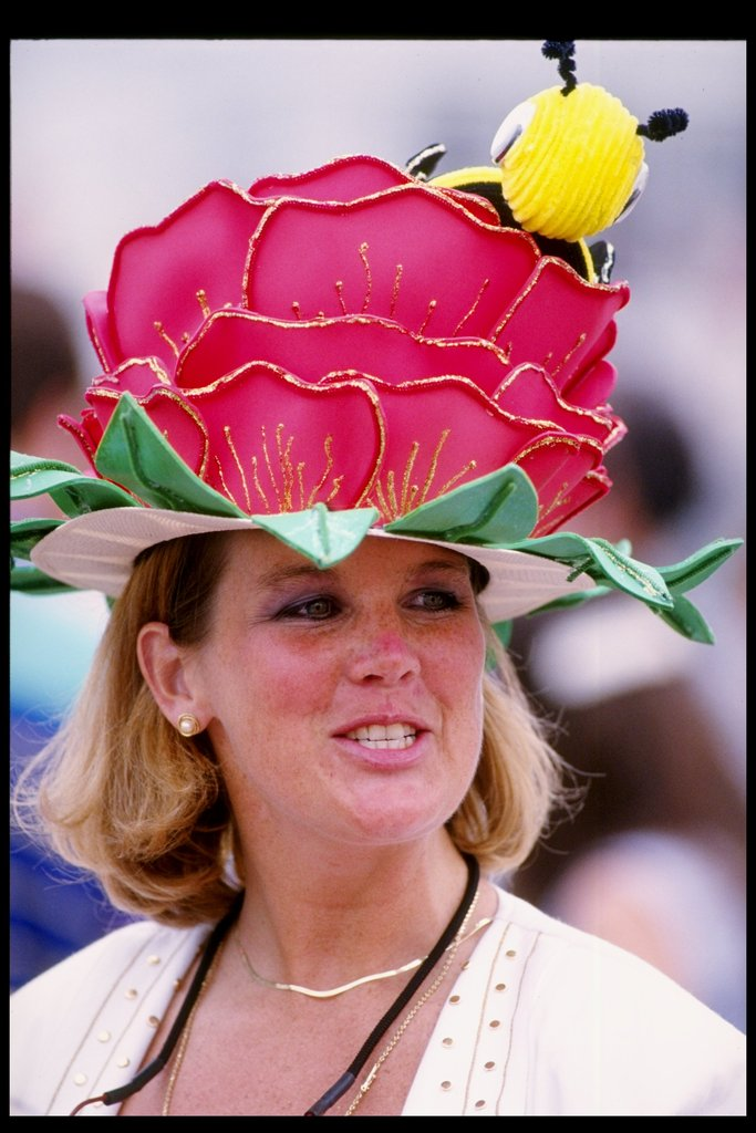A bumblebee peeked out from this flower hat worn in 1993.
