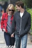 Emma Stone and Andrew Garfield smiled while walking together in New York City.