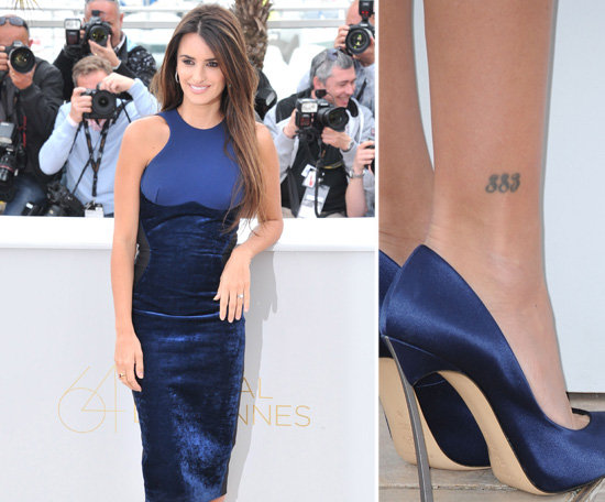 "Penelope Cruz has her favourite numbers, ""883,"" tattooed above her right ankle."