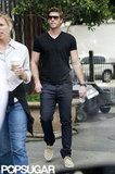 Liam Hemsworth changed into more casual clothes at a Men's Health photo shoot in LA.