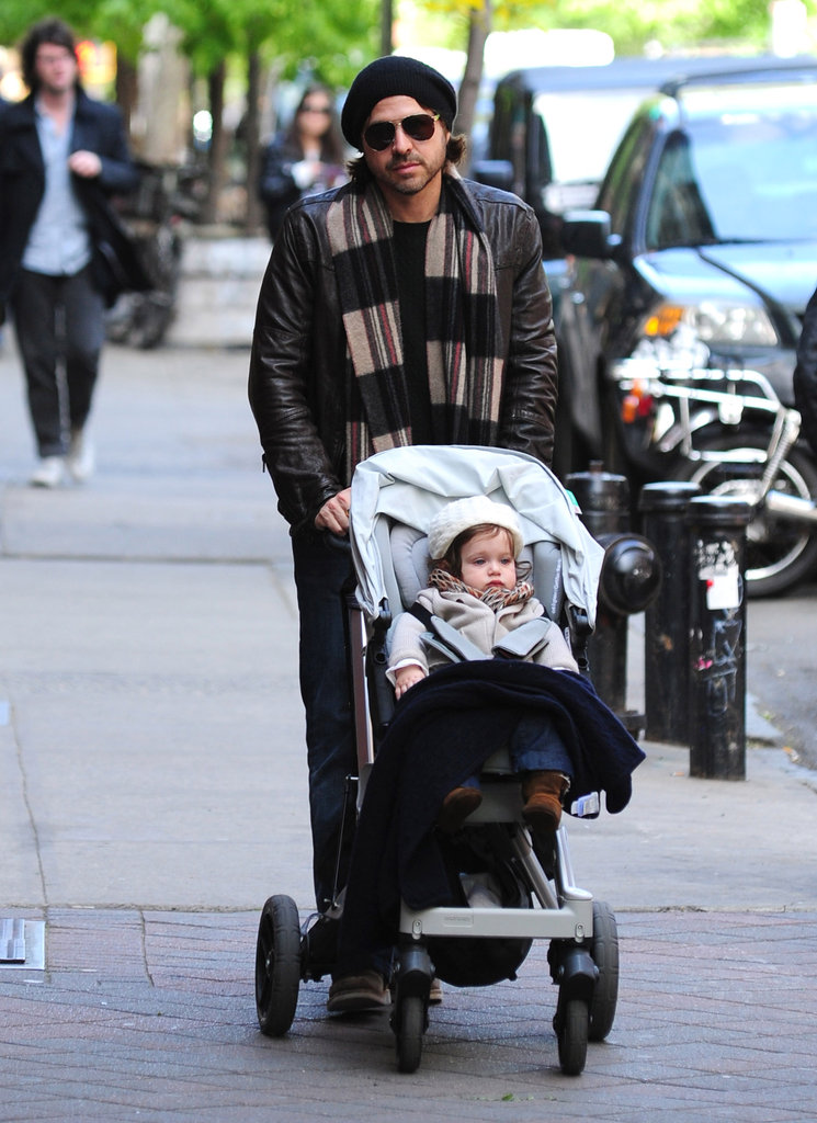 Rodger Berman took over stroller duty as he and Skyler walked through NYC.