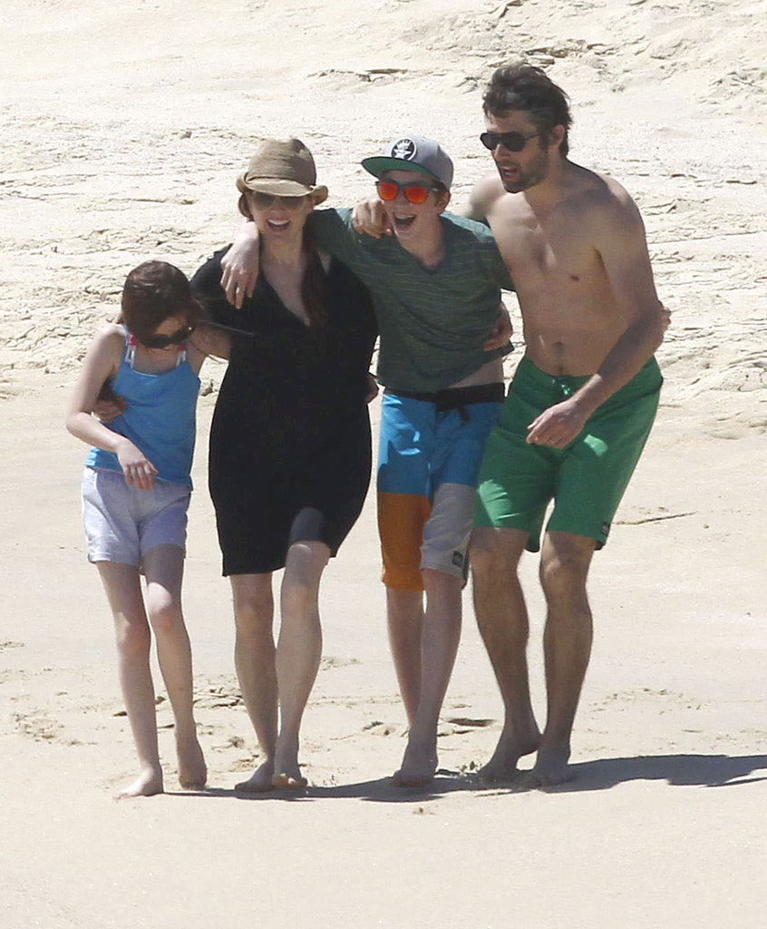 Julianne Moore and her husband, Bart Freundlich, enjoyed the beach with their kids, Caleb and Liv, in March 2012.