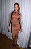 Jennifer Lopez wore a snake-embellished Lanvin dress to a press conference in LA.