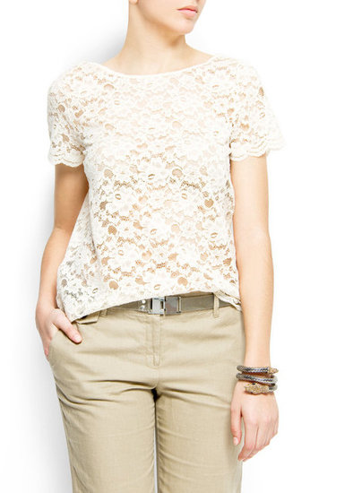 White lace in a classic cut can pair well with just about everything you own.  Mango Laced T-Shirt ($30)