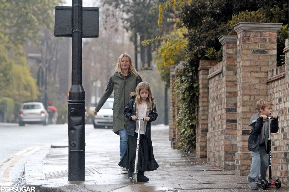 Gwyneth Paltrow strolled in London with kids Apple Martin and Moses Martin.