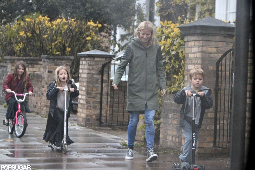 Gwyneth Paltrow spent an afternoon in London with kids Apple Martin and Moses Martin.