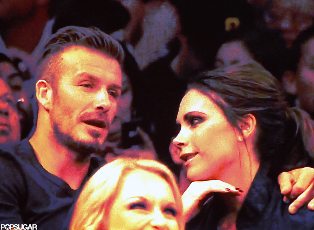 David Beckham and Victoria Beckham chatted at a Lakers game.