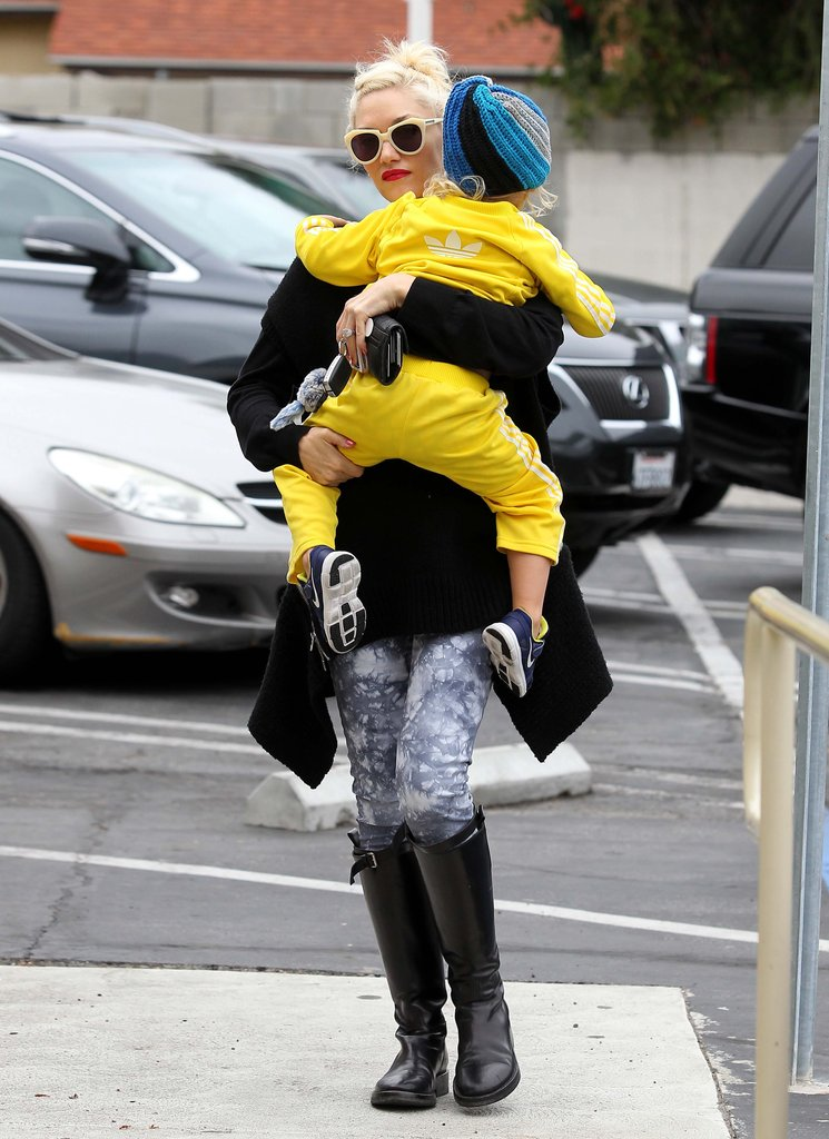 Zuma Rossdale kept warm in a blue beanie as he got a ride from him mom Gwen Stefani.