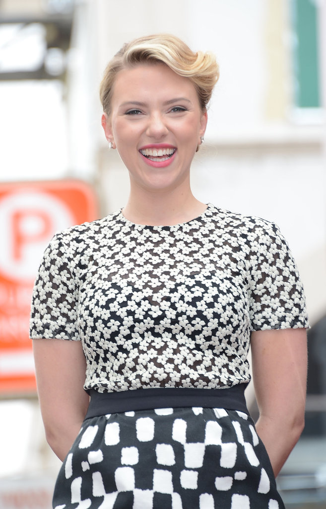 Scarlett Johansson looked gorgeous in a black and white dress in Hollywood.