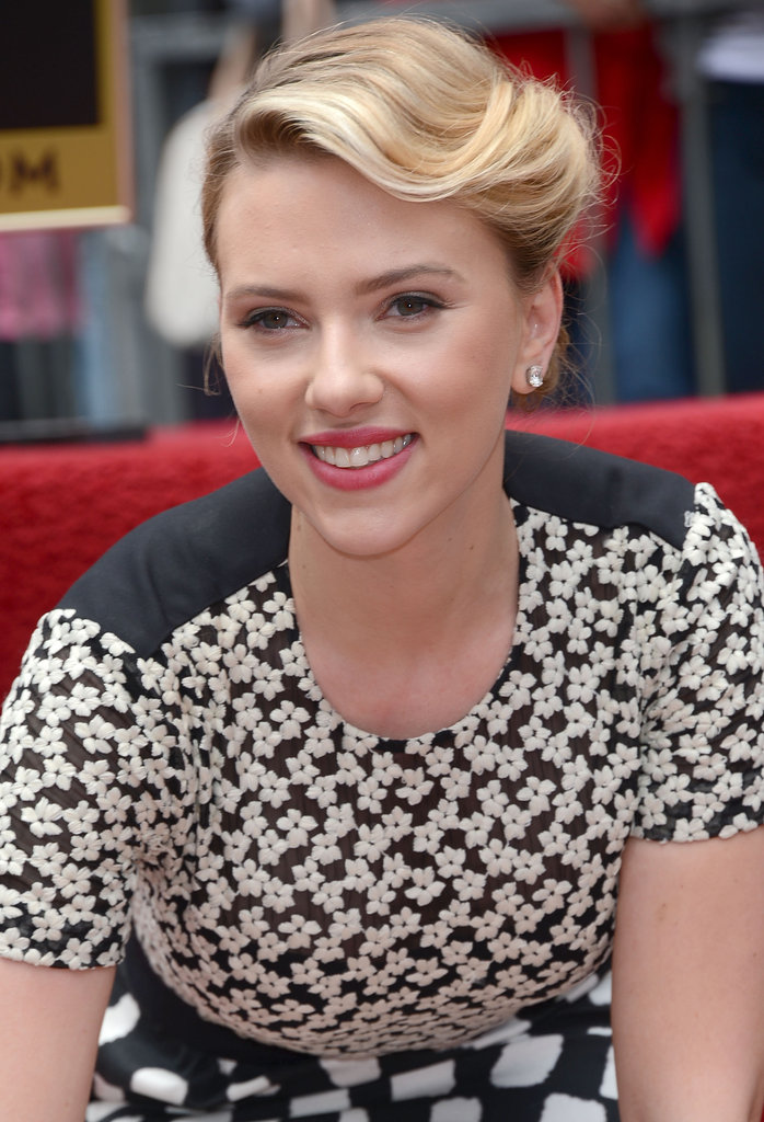 Scarlett Johansson looked gorgeous with her hair pulled back for the occasion.