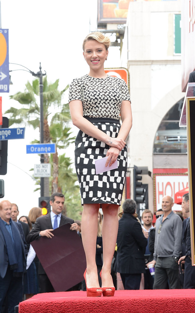 Scarlett Johansson accepted the honor of receiving a star on the Hollywood Walk of Fame.