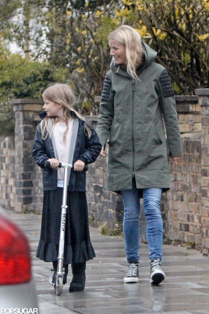 Gwyneth Paltrow chatted in London with Apple Martin.