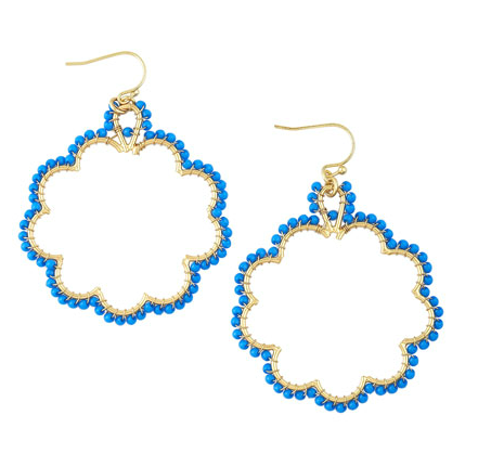 Flying Lizard Beaded Flower Hoop Earrings ($45)