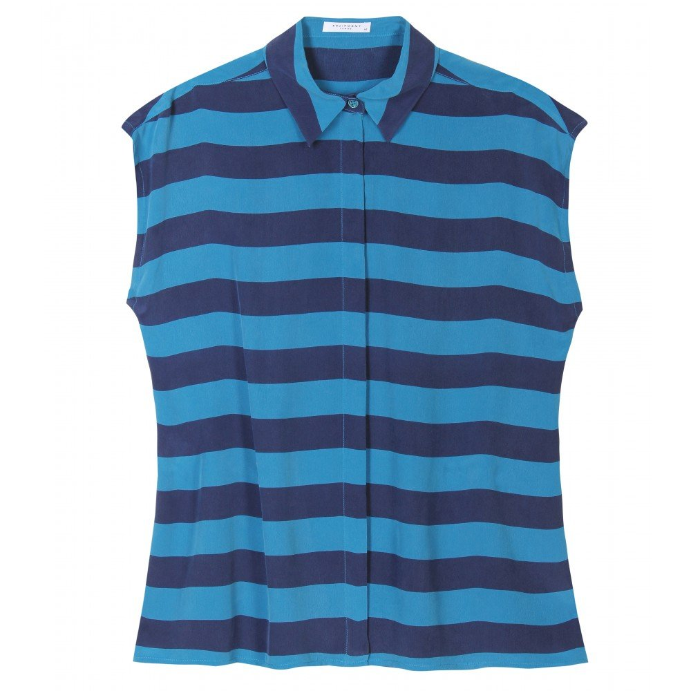 This silky tank gives you two pretty shades of blue for the sartorial price of one.  Equipment Leandra Striped Tank ($369)