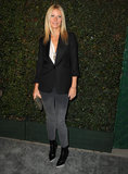 "At Paul McCartney's ""My Valentine"" party in LA, Gwyneth opted for a black Stella McCartney blazer with faded Stella McCartney jeans and sharp Balenciaga boots.  Get Gwyneth's dark-hued look below. 6823237"
