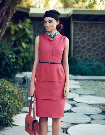 Miranda Kerr modeled a pink dress in Numéro Tokyo magazine.