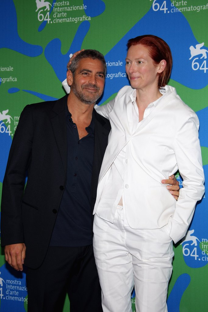 George Clooney joked around with Tilda Swinton at the 2007 Venice Film Festival.