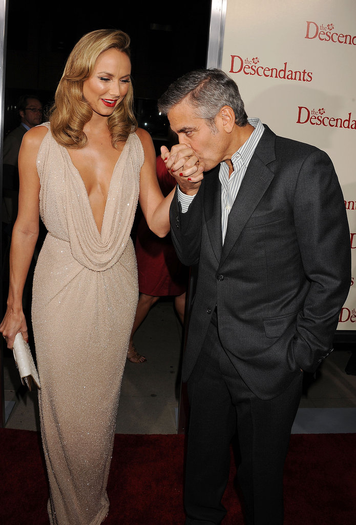George Clooney showed girlfriend Stacy Keibler love at the LA premiere of The Descendants  in November 2011.