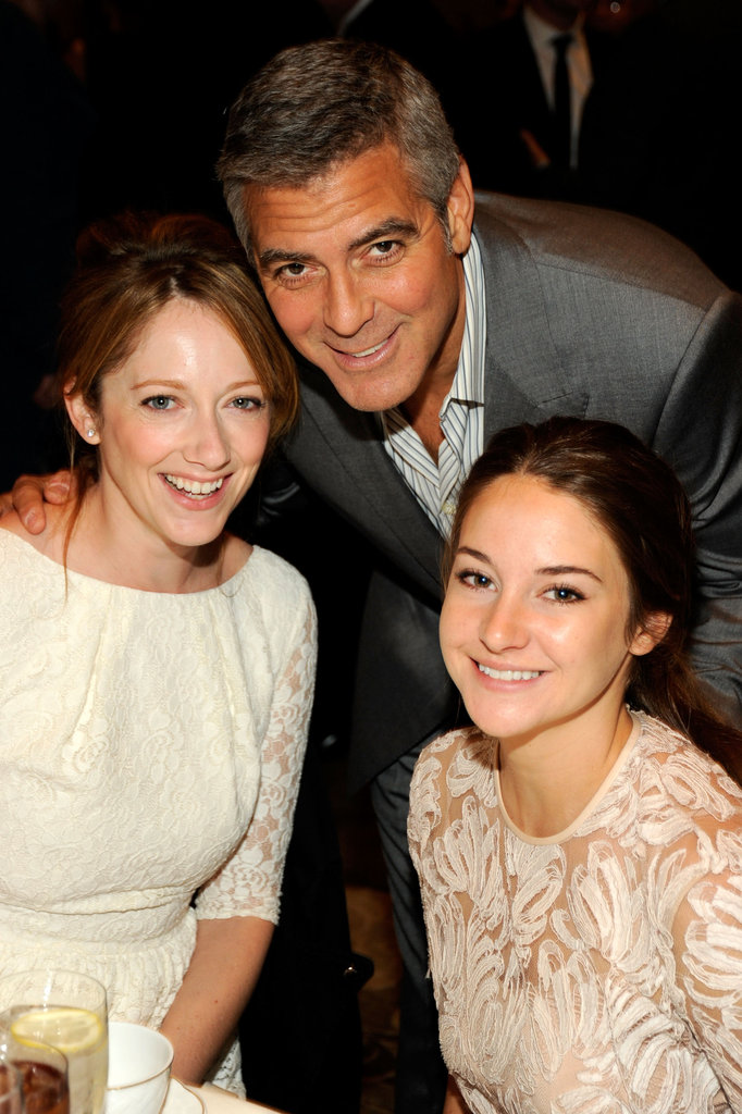 Shailene Woodley and Judy Greer were game for a photo op with George Clooney at the January 2012 AFI Film Awards in LA.