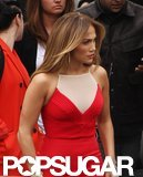 Jennifer Lopez looked stunning in red on the set of American Idol.