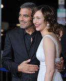 George Clooney posed with Vera Farmiga at the November 2009 premiere of Up in the Air in LA.