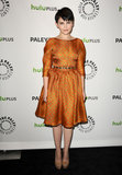 Ginnifer Goodwin charmed in a printed, waist-defining dress with a subtle sheen.  4768119