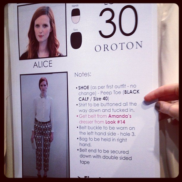 Alice Burdeu's call sheet at Oroton.