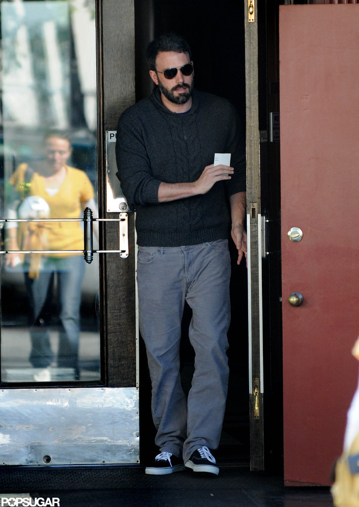 Ben Affleck wore a sweater and sunglasses while running errands in LA.