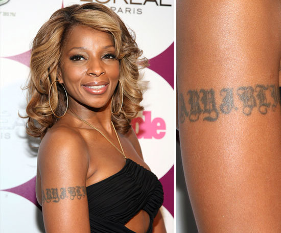 mary j blige has her own name inked on her right arm
