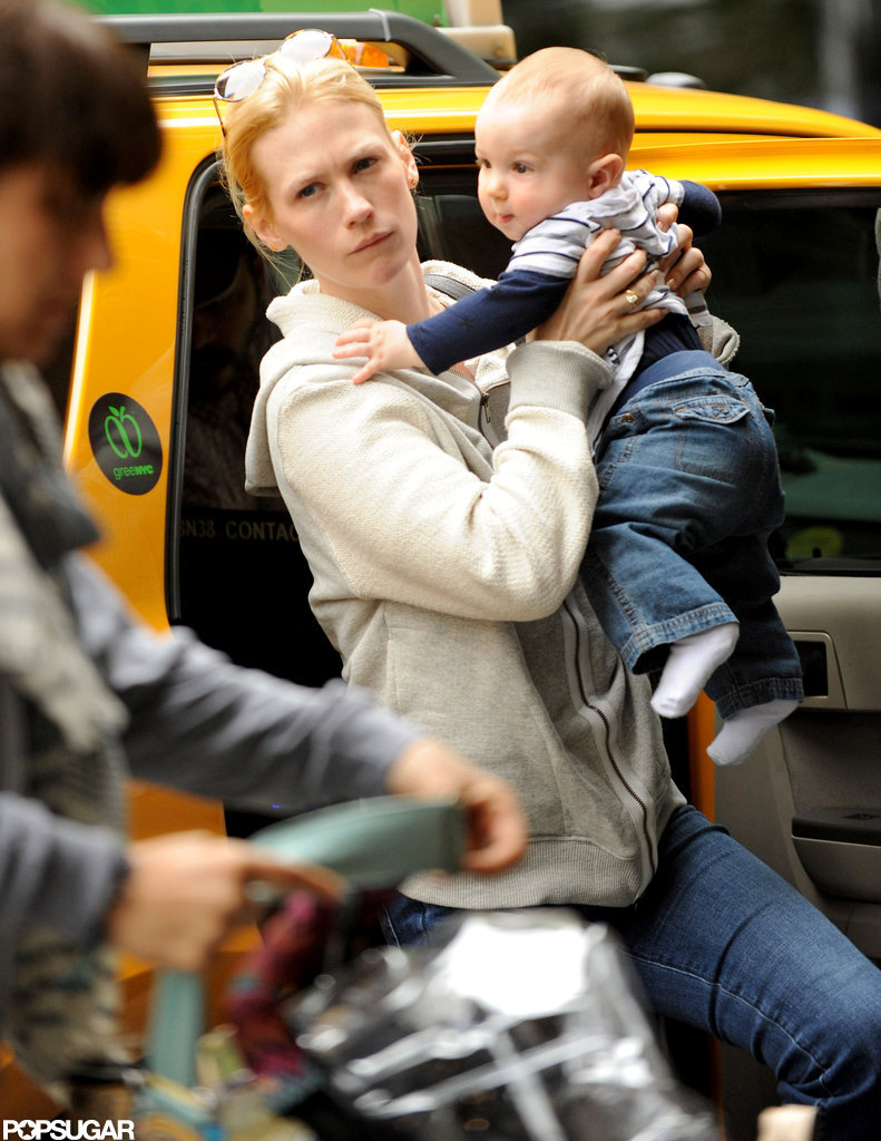 Xander held on to mom January Jones as she got out of a cab in NYC.