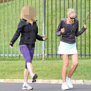 Blond Actress Jogging in Lululemon Jacket