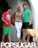 Katherine Heigl walked out of a friend's house in LA.