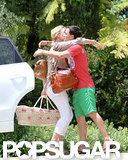 Katherine Heigl greeted a friend with her newly adopted daughter in tow in LA.