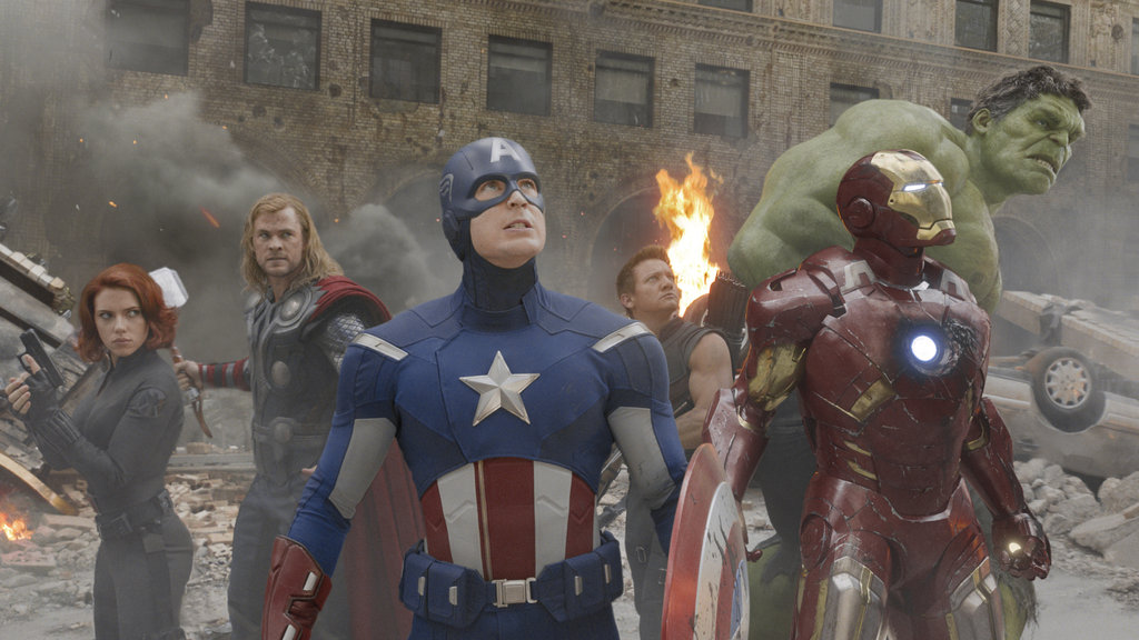 Scarlett Johansson as Black Widow, Chris Hemsworth as Thor, Chris Evans as Captain America, Jeremy Renner as Hawkeye, Robert Downey Jr. as Iron Man, and Mark Ruffalo as The Hulk in The Avengers.  Photo courtesy of Disney