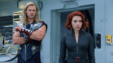 Chris Hemsworth as Thor and Scarlett Johansson as Black Widow in The Avengers. Photo courtesy of Disney