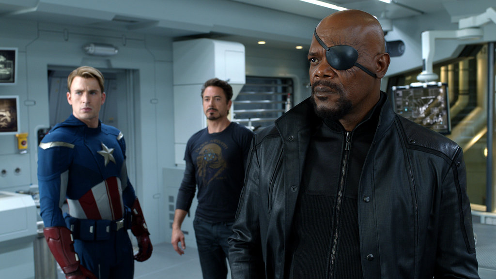 Chris Evans as Captain America, Robert Downey Jr. as Iron Man, and Samuel L. Jackson as Nick Fury in The Avengers. Photo courtesy of Disney