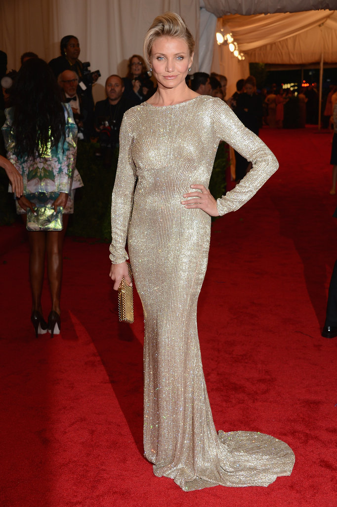 Cameron Diaz struck a pose wearing a beaded Stella McCartney number at the Met Gala.
